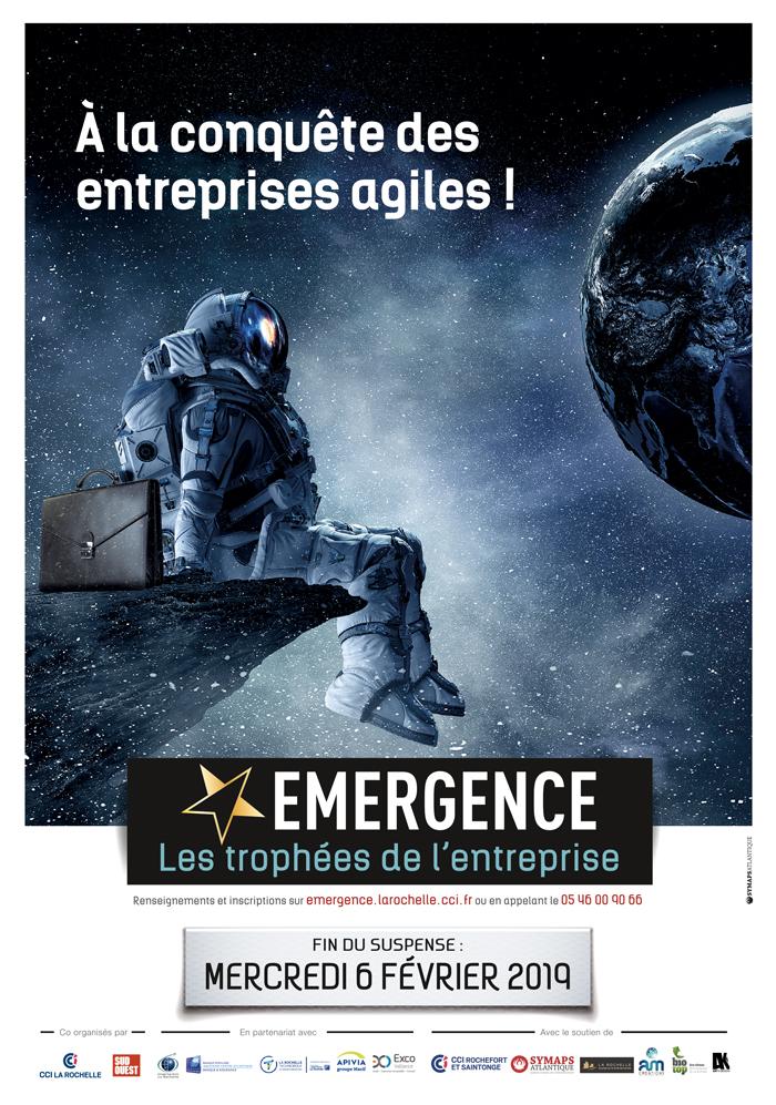 Affiche Emergence 2018-2019 cosmonaute entreprises agiles