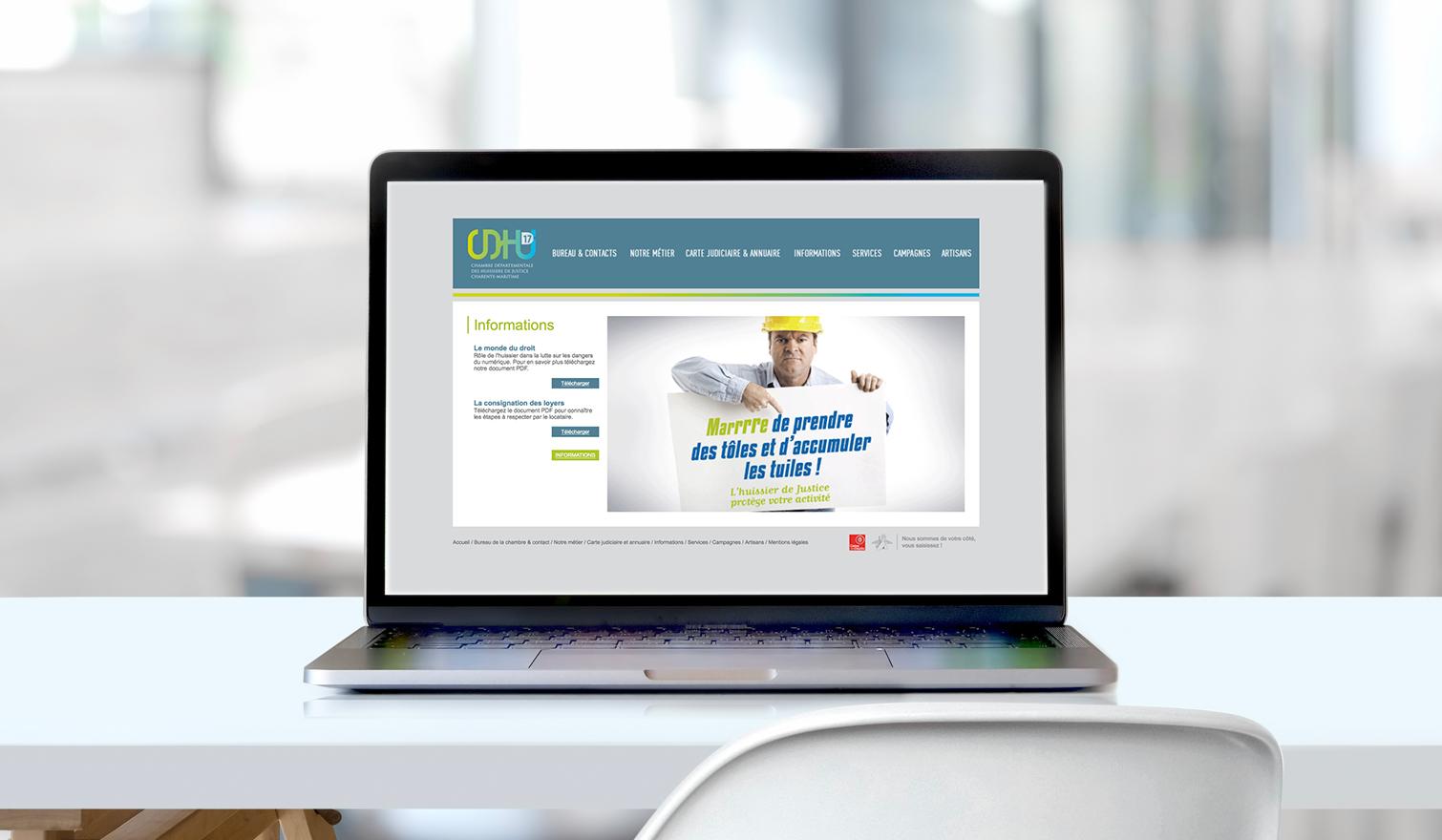 Site internet Chambre Départementale Huissiers Justice Charente Maritime